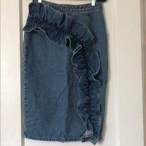 ASOS Denim pencil skirt with huge ruffle